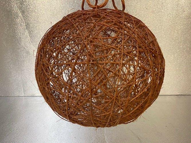 Ancienne suspension boule rotin vintage années 70