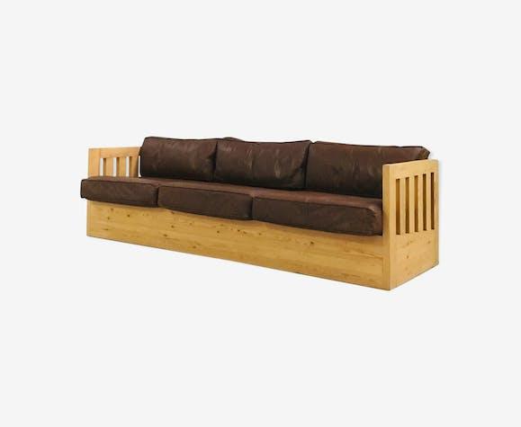 Canapé bois et cuir