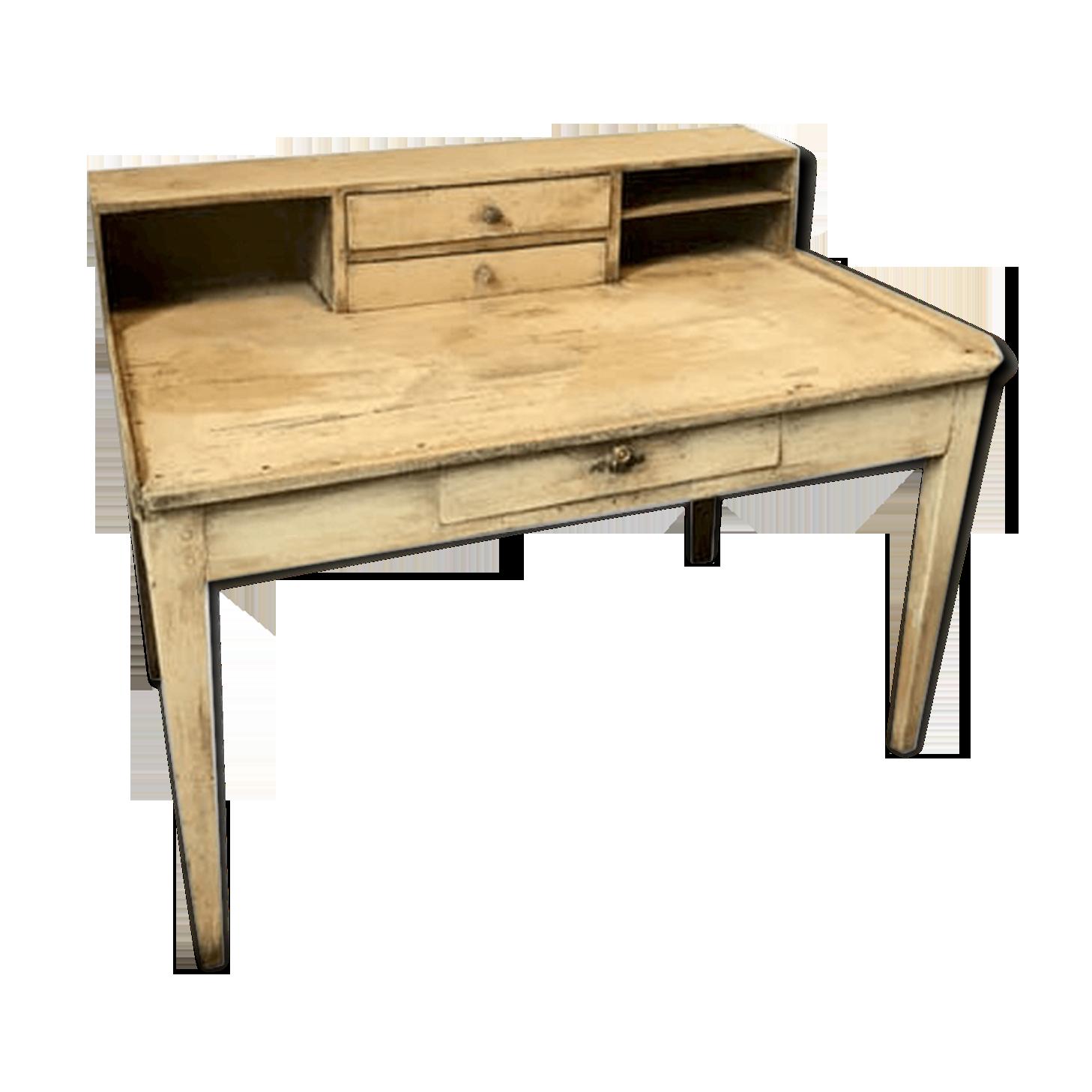 Bureau avec étagère bois matériau beige classique bgooire