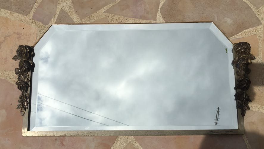 Bevelled art deco mirror 34 x 70 cm