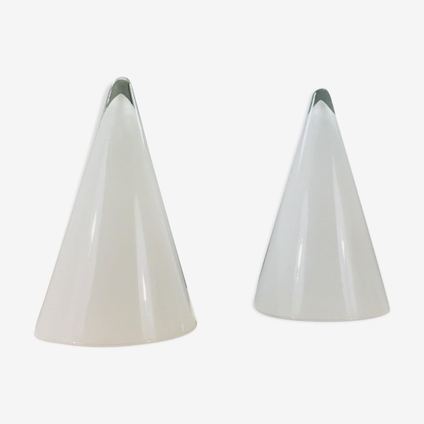 Paire de lampes coniques en verre blanc et translucide