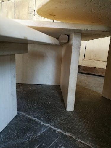 3 travertine tables
