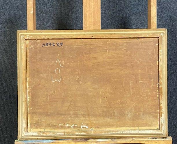 Huile sur panneau la contrebasse, école française XXème