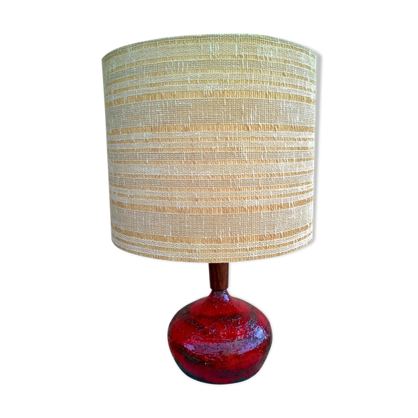 Lampe ceramique-porcelaine-faience rouge