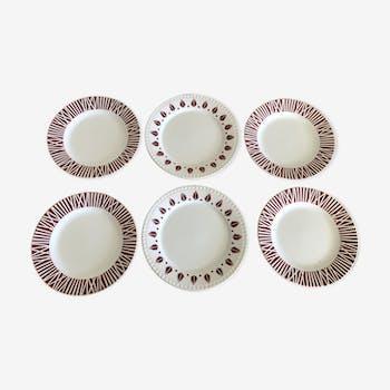 6 assiettes plates Digoin vintage années 50