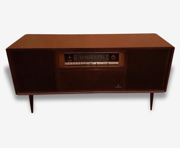 meuble radio tourne disque annee 60 bois mat riau marron vintage 111336. Black Bedroom Furniture Sets. Home Design Ideas