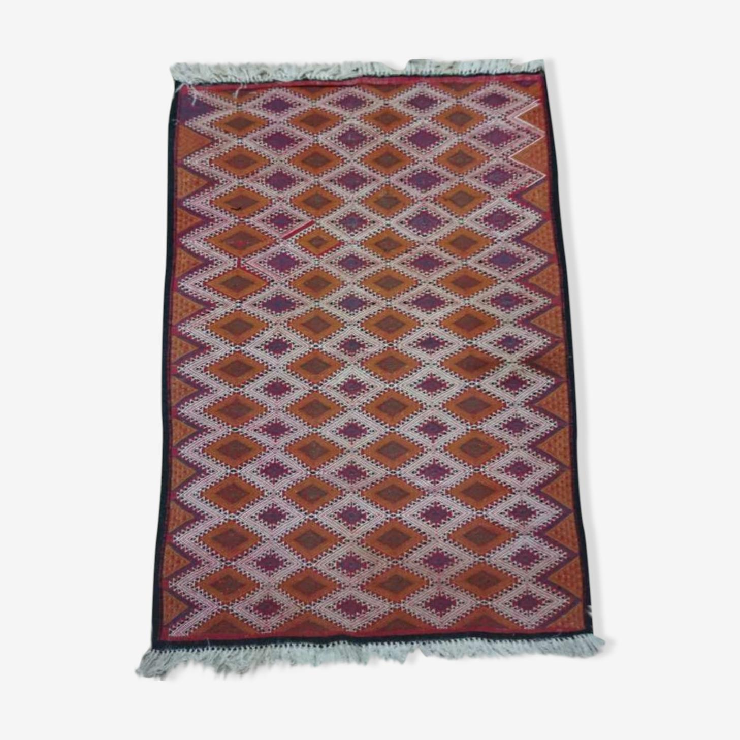 Tapis kilim multicolore fait à la main en laine 112x155cm