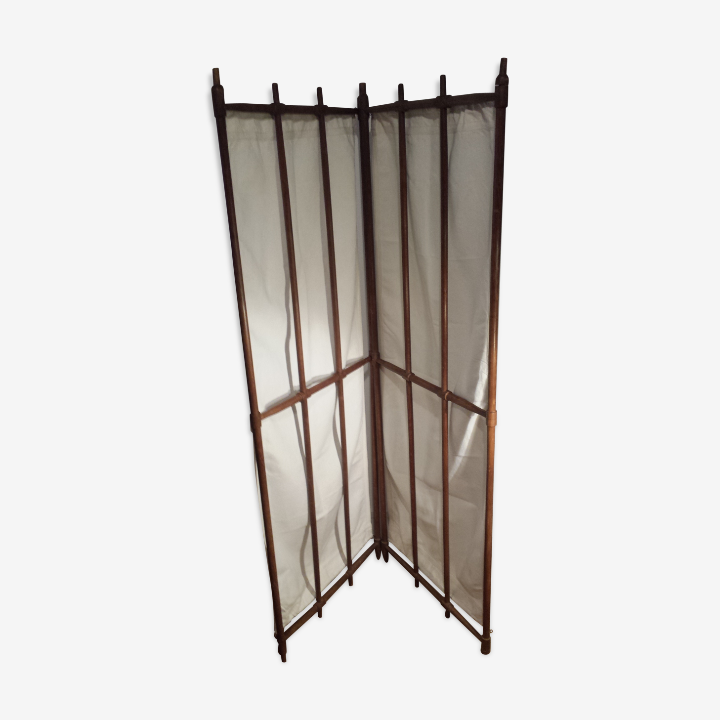 folding screen in wood and fabric
