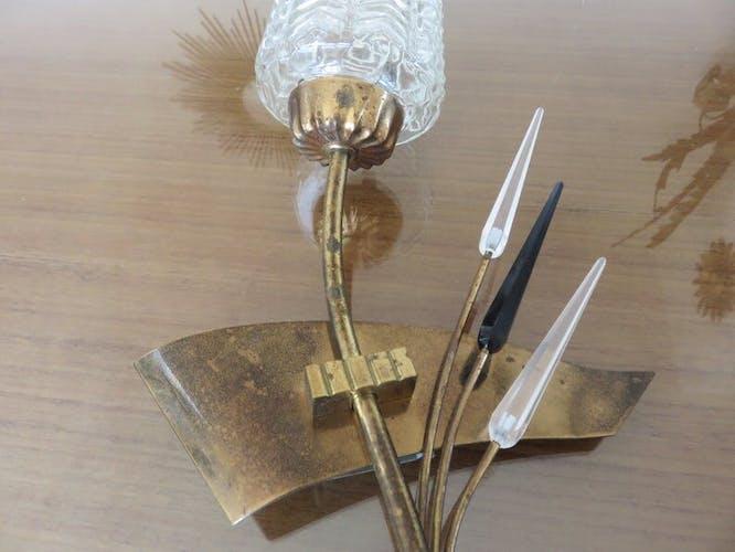 Paire d'appliques asymétriques Arlus en verre et laiton années 50 60
