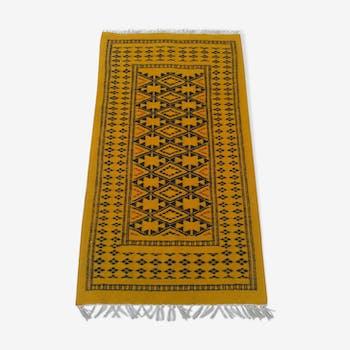 Yellow and black Berber carpet wool 142 x 72 cm