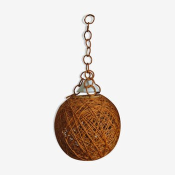 Suspension boule vintage en ficelle orange