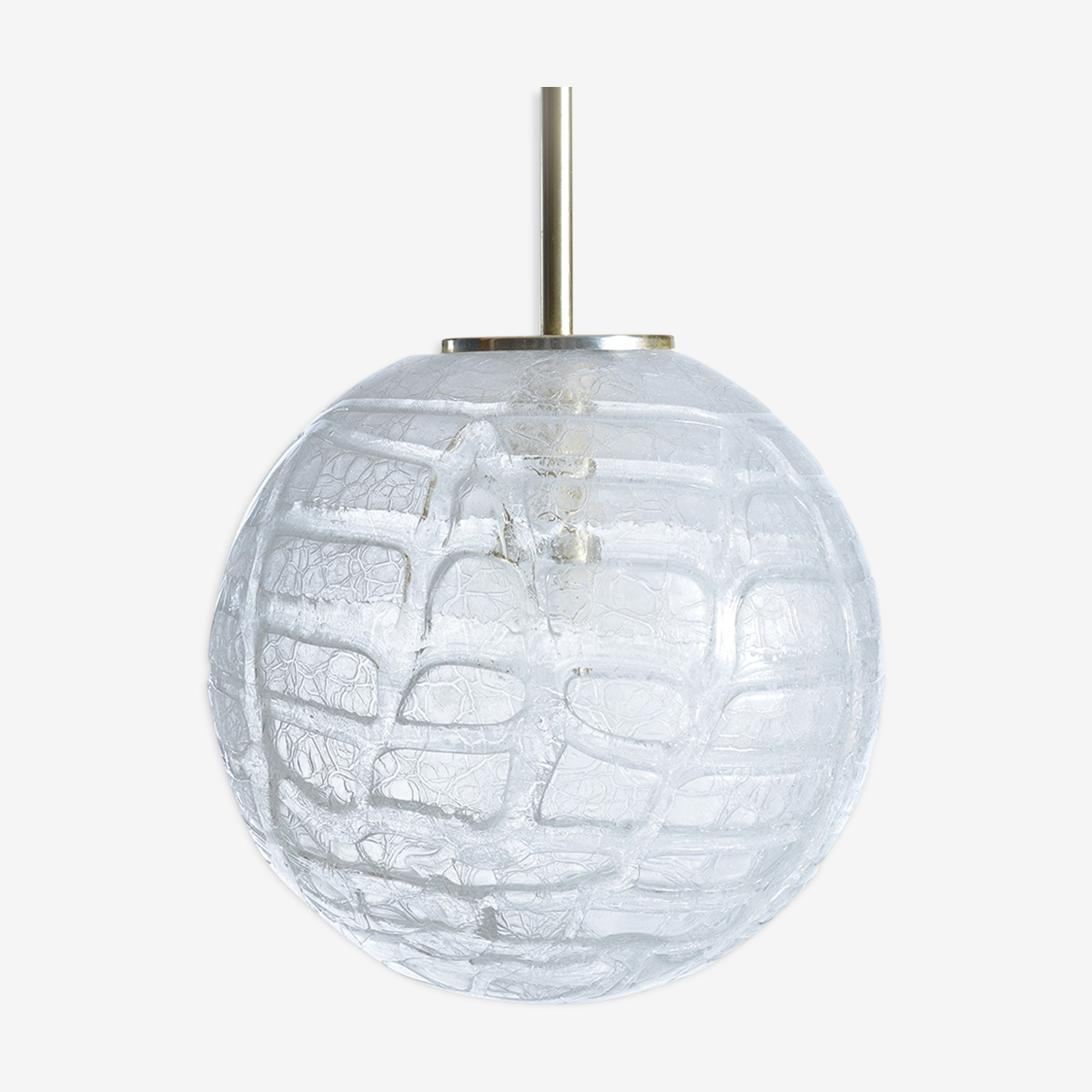 Large Ball Frosted Glass Ceiling Light by Doria, Germany 1970s