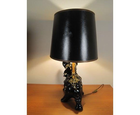 Lampe éléphant en céramique émaillée noir et dorure or 1950
