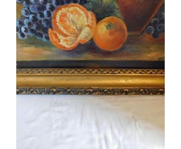 J.Charavay nature morte au pot raisins et oranges