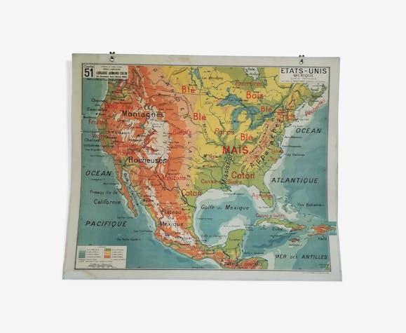 U.S. geographic map Vidal Lablache 60s