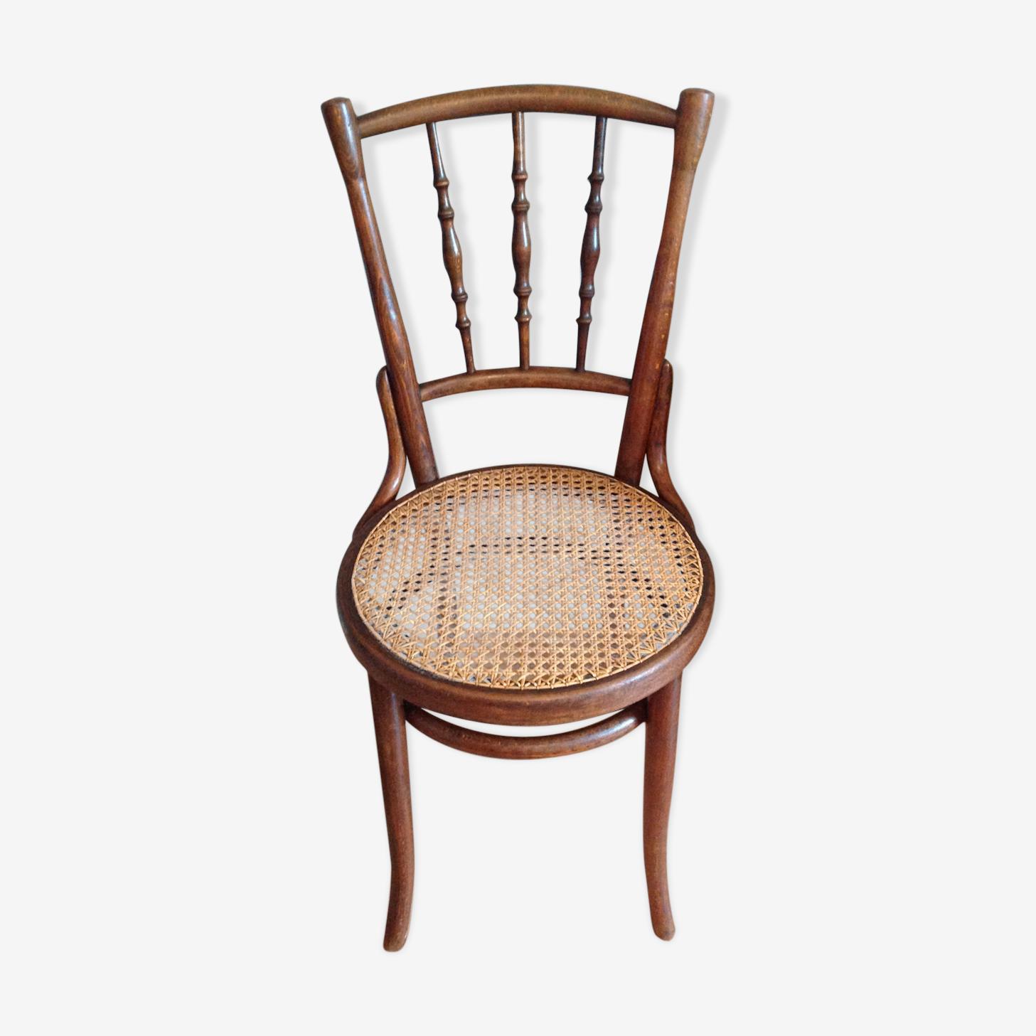 Chaise de bistrot en bois tourné et cannage vintage années 30-40