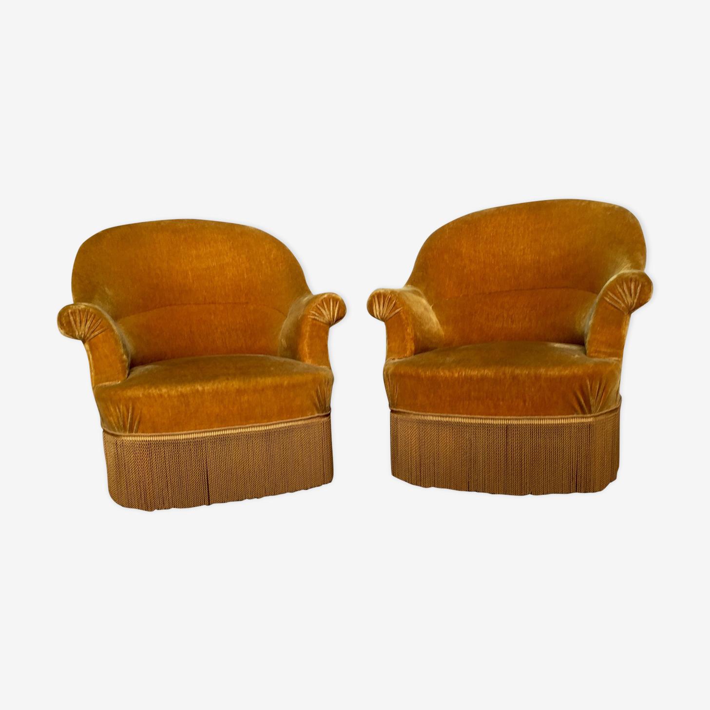 Paire de fauteuils crapaud jaune