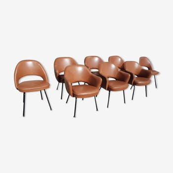 Ensemble de 6 fauteuils et 2 chaises en cuir de conférence Knoll