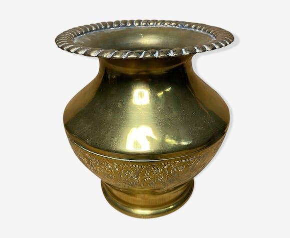 Potiche ancienne cuivre orientale marocaine décor ciselé