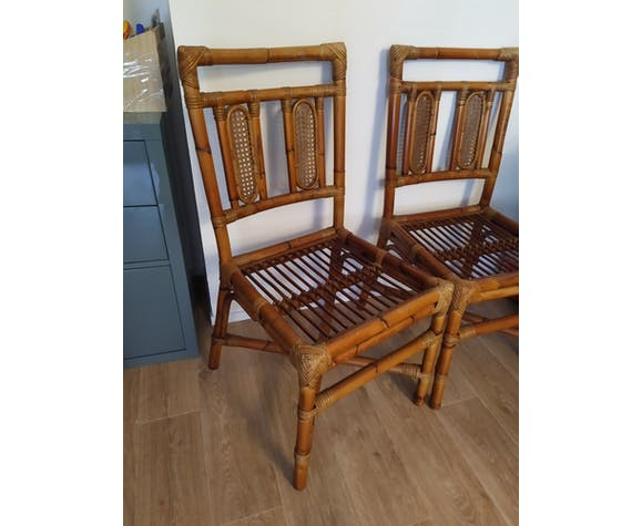 Chaises rotin et bambou- vintage