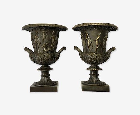 Paire vases à champagne en bronzes grec zeus néoclassique