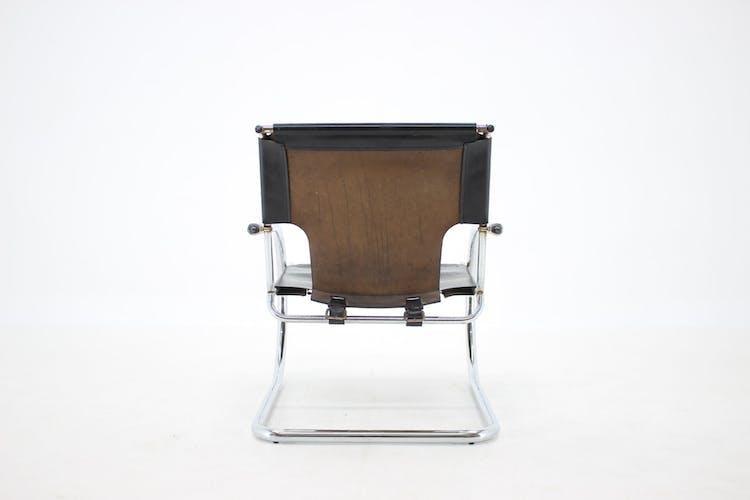 Fauteuil Arrben en chrome et cuir cantilever des années 1960, Italie