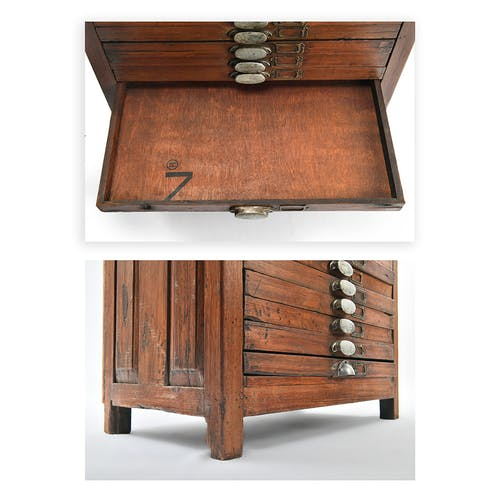 Wooden printer furniture with 20 drawers