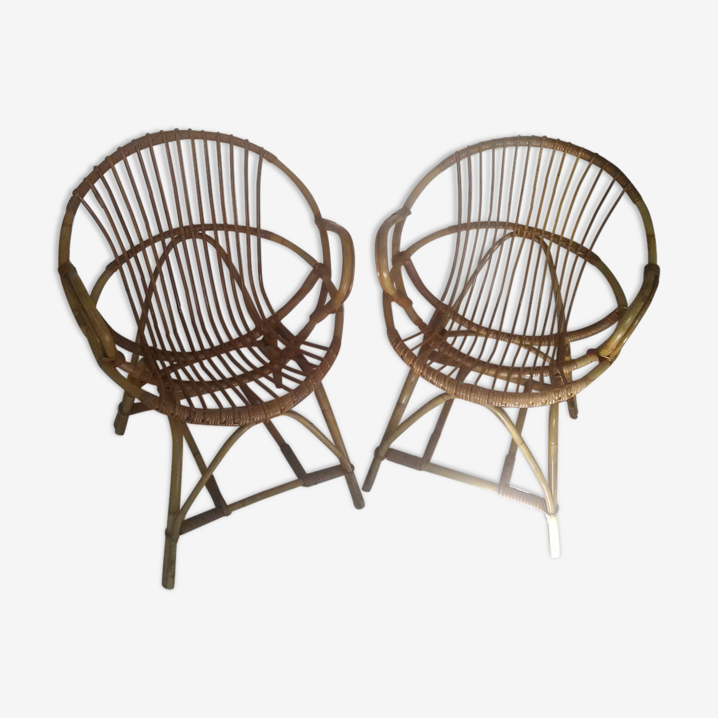 Set of 2 former chairs children shell rattan