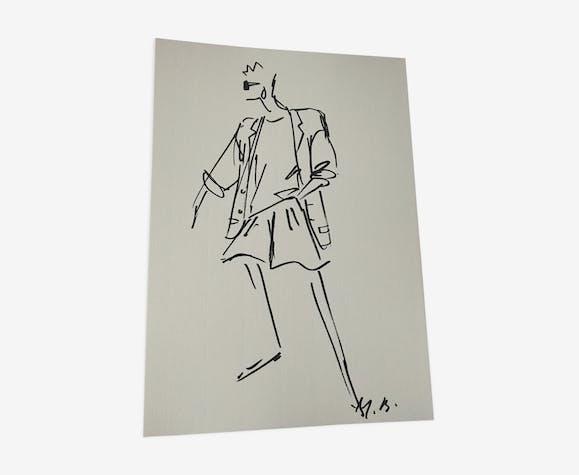Christian Dior : illustration de mode et photographie vintage de presse fin des années 80