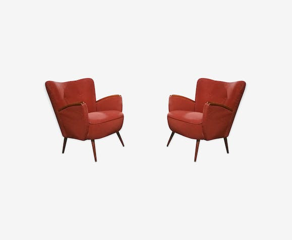 paire de petits fauteuils club cocktails ann es 50 60 rouge tissu rouge vintage gxncdyg. Black Bedroom Furniture Sets. Home Design Ideas