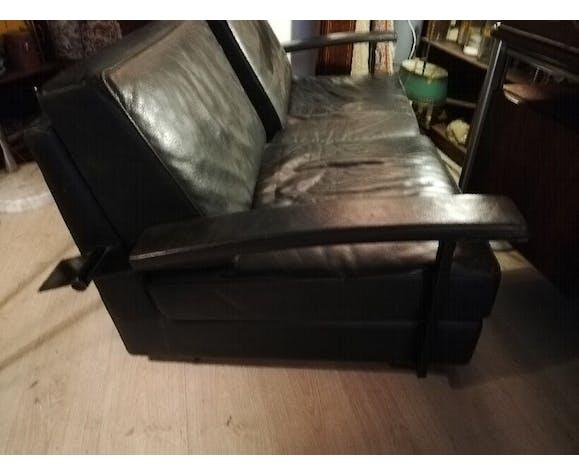 Canapé cuir noir Jean-Michel Wilmotte modèle Washington