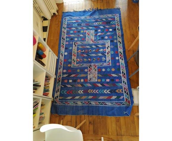 Tapis berbère Kilim bleu multicolore 227×134cm