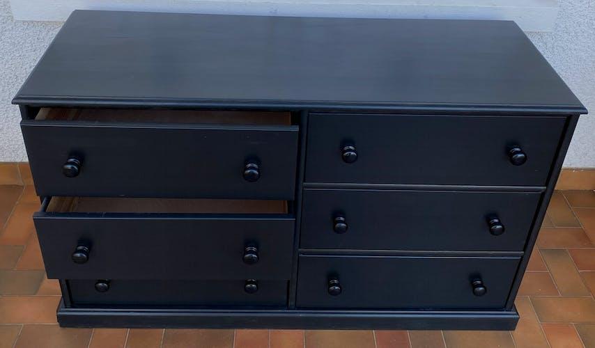 Commode 6 tiroirs noire vintage