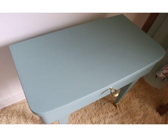 Chevet bleu vintage pieds compas