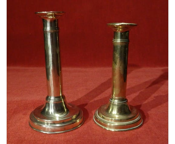 Set of 2 old torches candlesticks with binet Louis Philippe XIX 10th