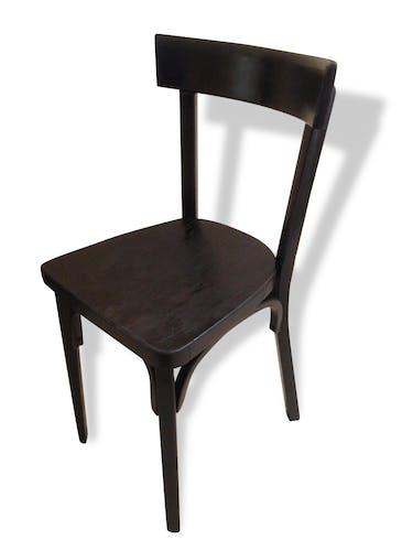 Chaise Ancienne BAUMANN Bistrot Noire Vintage Année 50