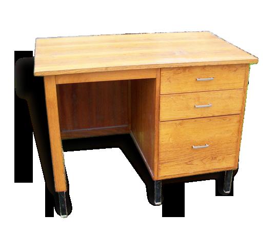 Bureau vintage en bois vernis pieds en métal bois matériau