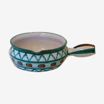 Salad bowl in the form of fondue pot, Robert Picault Vallauris, in enamelled ceramics, vintage 1950/60,