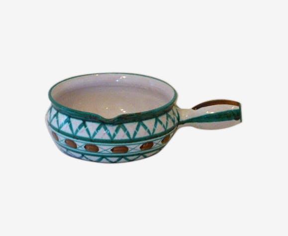 Saladier en forme de caquelon, Robert Picault Vallauris, en céramique émaillée, vintage 1950/60,