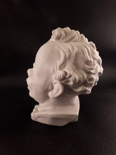 Buste tête bébé cadum biscuit porcelaine blanc style vintage 1940 1950