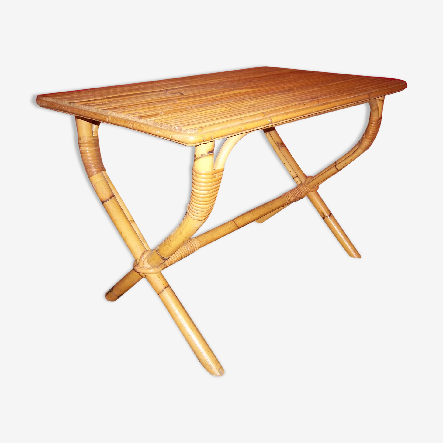 Table de salon en rotin et bambou de 1960