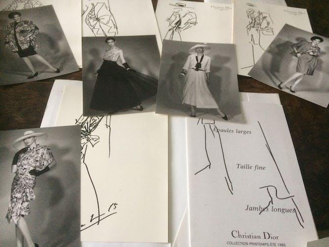 Illustration de mode de presse Christian Dior collection printemps-été 1985