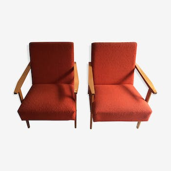 Paire de fauteuils scandinave vintage orange