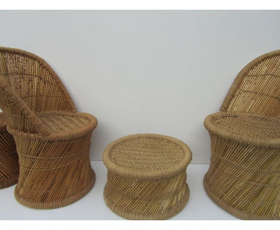 Vintage spanish bamboo living room set, 1970 s, set of 5