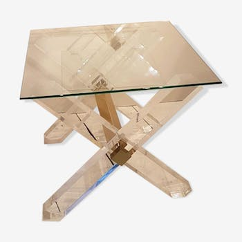 Pair of lucite and 1980 s Golden brass side tables