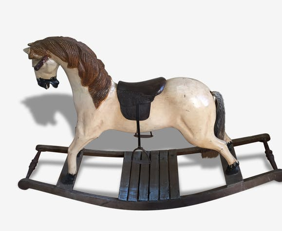 ancien cheval bascule en bois cuir et crin bois. Black Bedroom Furniture Sets. Home Design Ideas