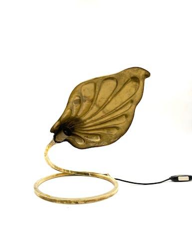 Lampe feuille en laiton Carlo Giorgi Tommaso Barbi pour Bottega Gadda 1970