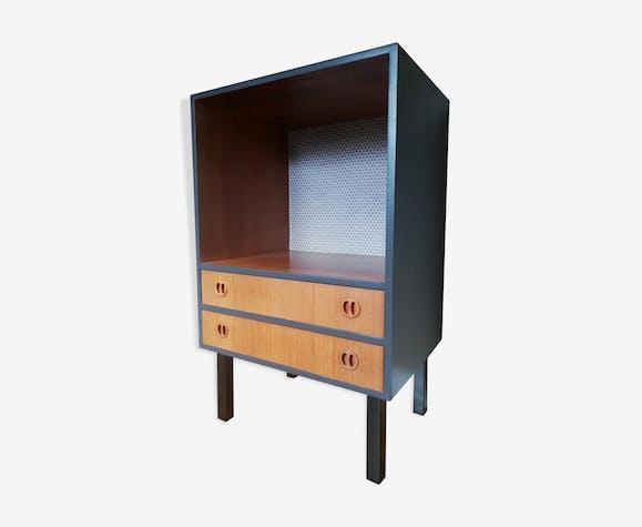 Élément de rangement teck meuble hifi