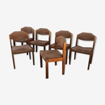 Serie de 6 chaises en orme massif