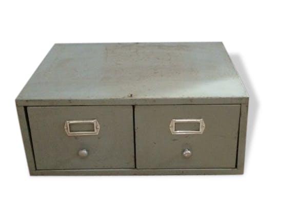 Casier m tallique deux tiroirs m tal gris for Casier metallique industriel